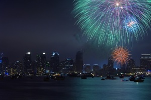 Fourth of July in San Diego - Fireworks over Mission Bay